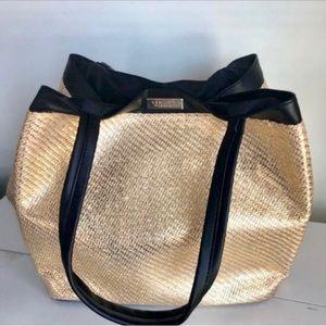 Versace Tote Purse Weekender Bag Gold Metallic NEW